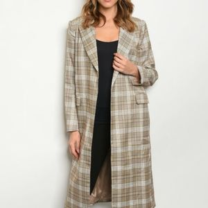 INA LONG SLEEVE TAN OFF WHITE CHECKERED CARDIGAN